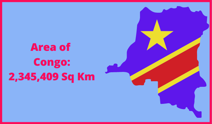 Area of Congo compared to the area of the United States of America