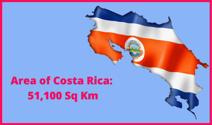 Area of Costa Rica compared to the area of the United States of America