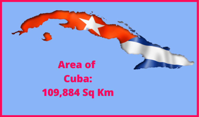 Area of Cuba compared to the area of the United States of America