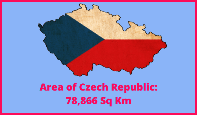 Area of Czech Republic compared to the area of the United States of America