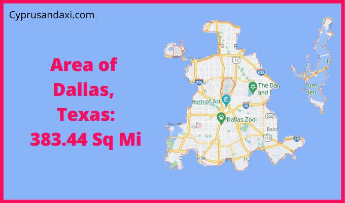 Area of Dallas Texas compared to Austin Texas