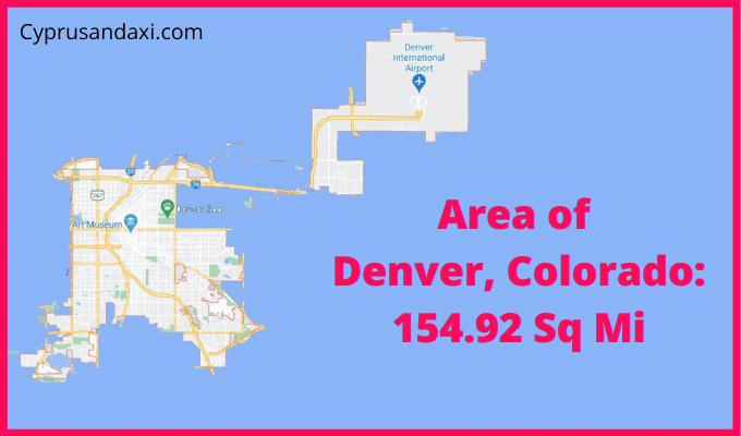 Area of Denver Colorado compared to Austin Texas
