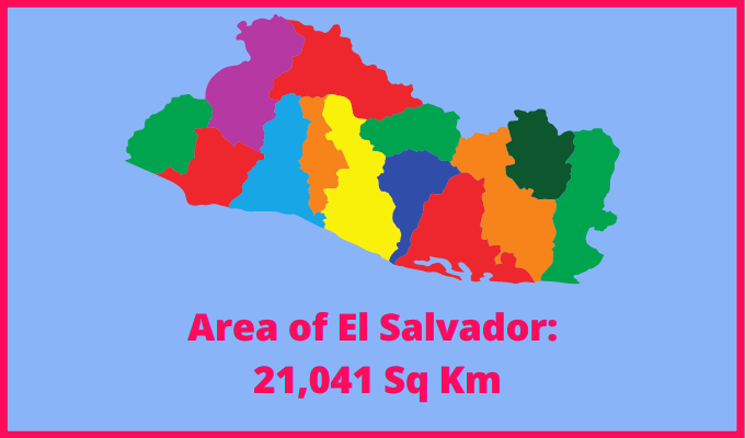 Area of El Salvador compared to the area of the United States of America
