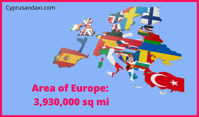 Area of Europe compared to the area of the United States of America