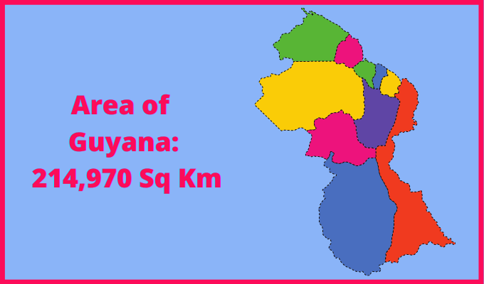 Area of Guyana compared to the area of the United States of America