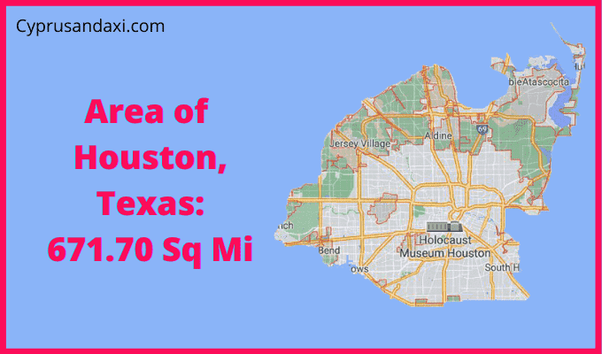 Area of Houston Texas compared to New York City