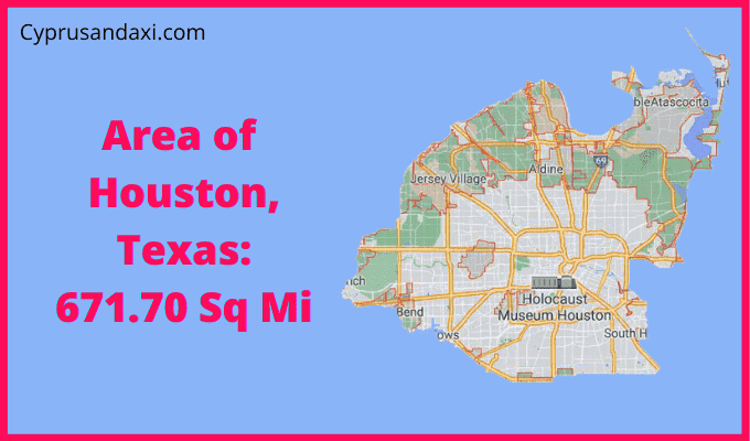Area of Houston Texas compared to Rhode Island