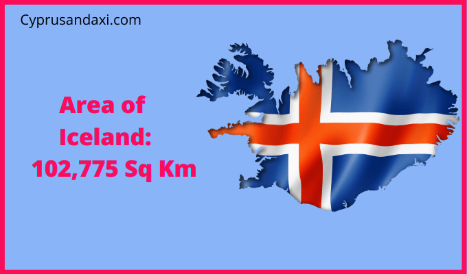 Area of Iceland compared to the area of the United States of America