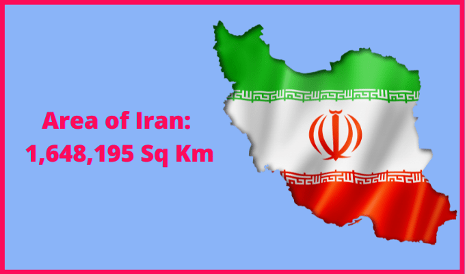 Area of Iran compared to the area of the United States of America