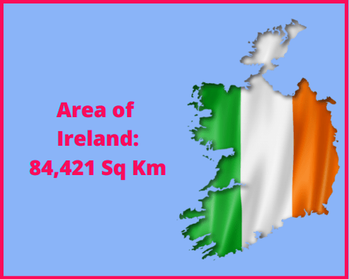 Area of Ireland compared to the area of the United States of America