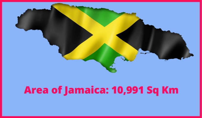 Area of Jamaica compared to the area of the United States of America
