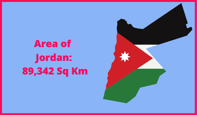 Area of Jordan compared to the area of the United States of America