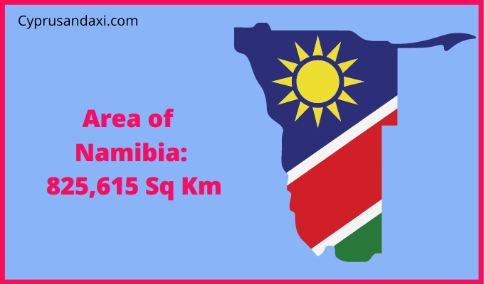 Area of Namibia compared to the area of the United States of America