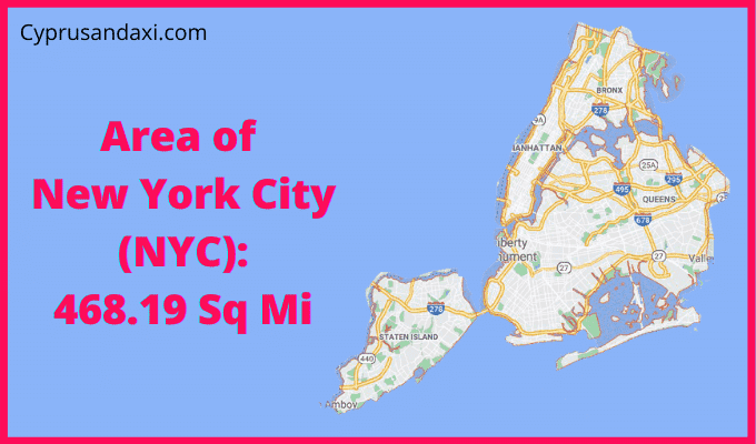 Area of New York City compared to Houston Texas