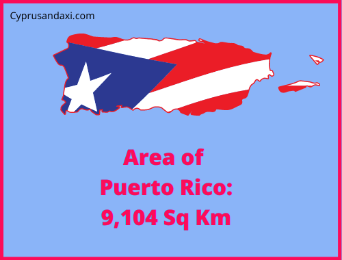 Area of Puerto Rico compared to the area of the United States of America