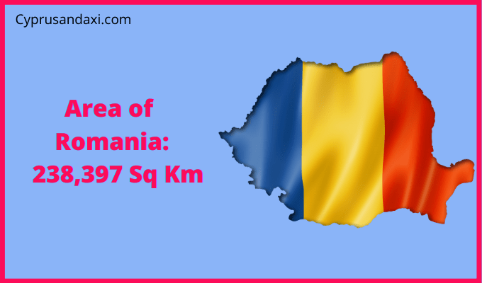 Area of Romania compared to the area of the United States of America