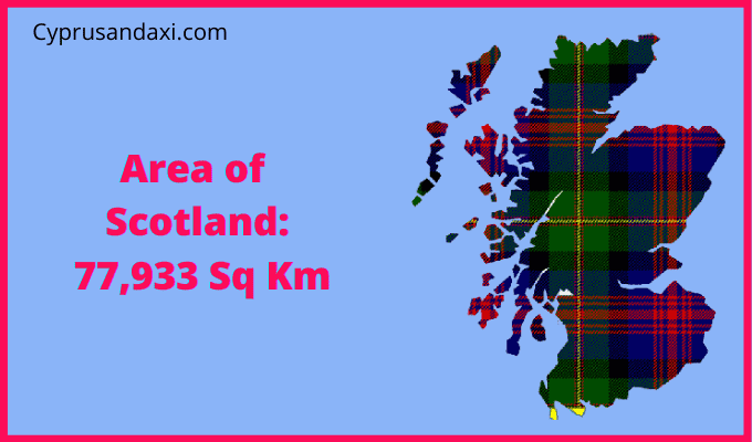 Area of Scotland compared to the area of the United States of America