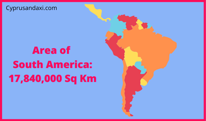 Area of South America compared to the area of the United States of America