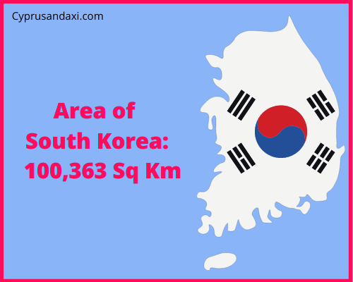 Area of South Korea compared to the area of the United States of America