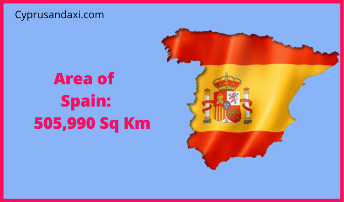 Area of Spain compared to the area of the United States of America