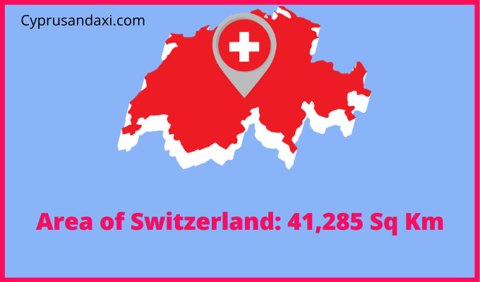 Area of Switzerland compared to the area of the United States of America
