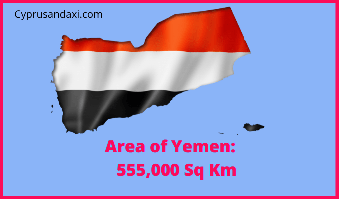 Area of Yemen compared to the area of the United States of America