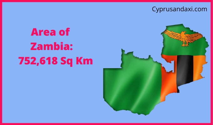 Area of Zambia compared to the area of the United States of America