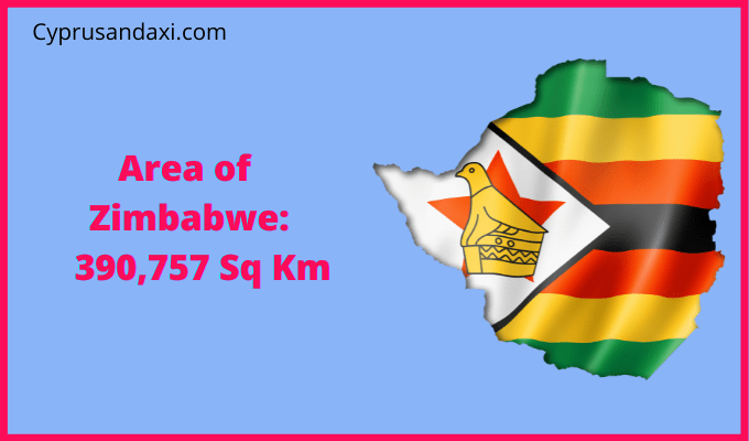Area of Zimbabwe compared to the area of the United States of America