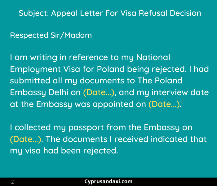 Section 2 of the Appeal letter for Poland National Visa rejection
