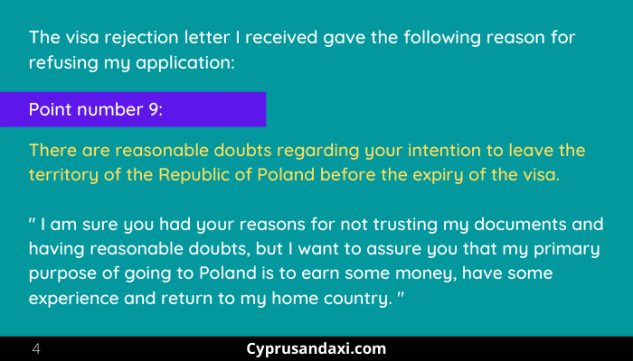 Section 4 Reason for visa rejection for Poland employment visa