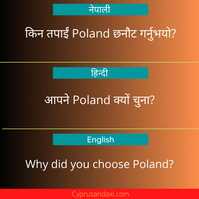 Why did you choose Poland