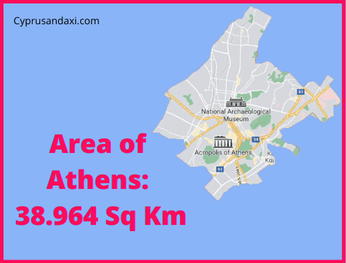 Area of Athens compared to Crete