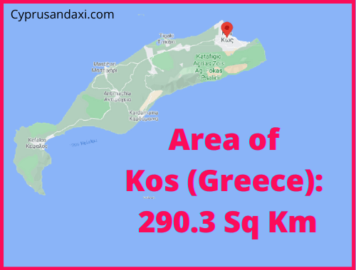Area of Kos island Greece compared to Rhodes