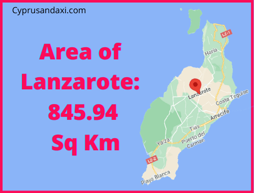 Area of Lanzarote compared to Tenerife