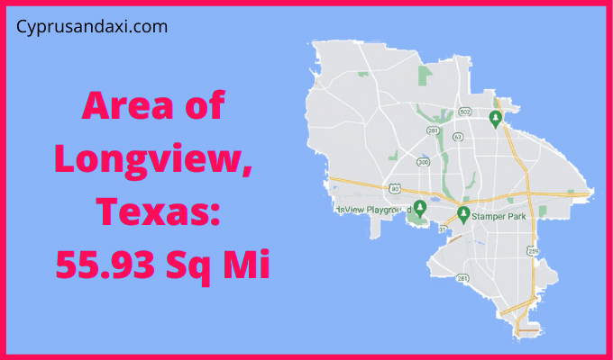 Area of Longview Texas compared to Tyler Texas