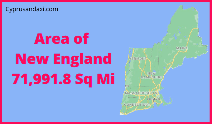 Area of New England compared to Texas