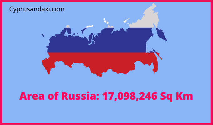 Area of Russia compared to Rhodes