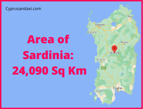 Area of Sardinia compared to Rhodes
