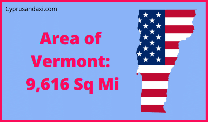 Area of Vermont compared to Texas