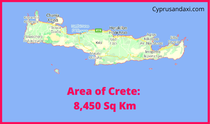 Area of Crete compared to Germany