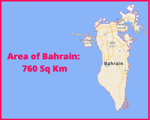Area of Bahrain compared to the UK