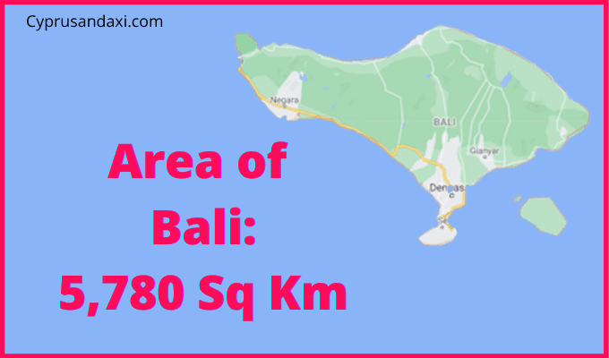 Area of Bali compared to England