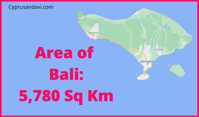 Area of Bali compared to the UK