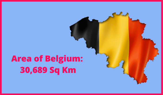 Area of Belgium compared to the UK