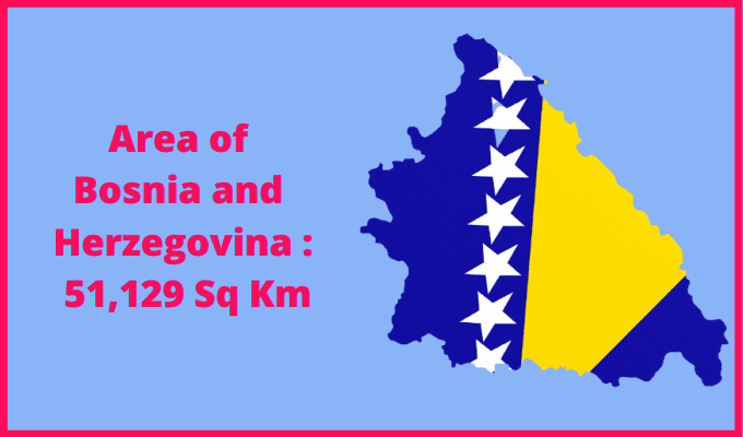 Area of Bosnia and Herzegovina compared to Northern Ireland