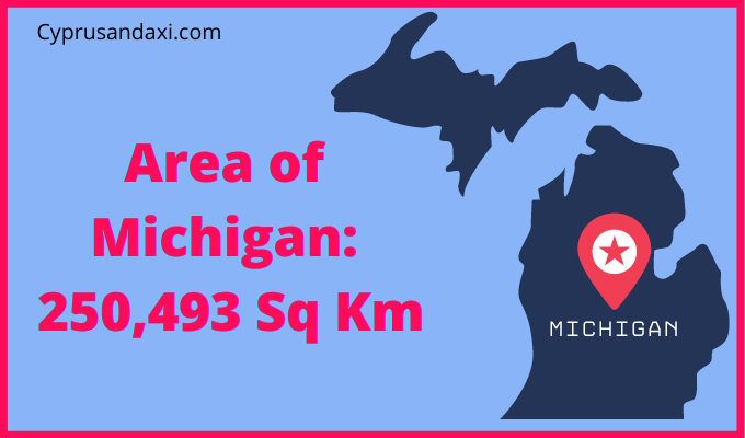 Area of Michigan compared to England