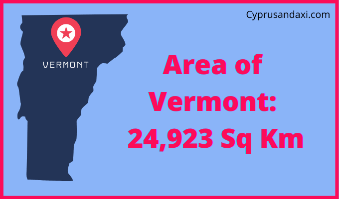 Area of Vermont compared to the UK