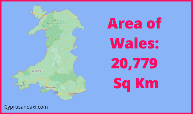 Area of Wales compared to California