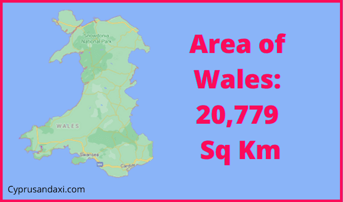 Area of Wales compared to Ireland