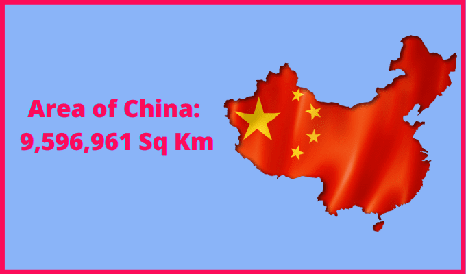 Area of China compared to France